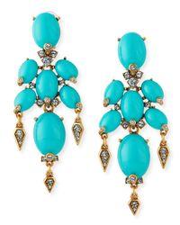 Oscar de la Renta - Blue Oval Cabochon Clip-On Earrings - Lyst