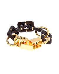 Diane von Furstenberg | Metallic Wood-Grained Resin And Gold-Plated Bracelet | Lyst