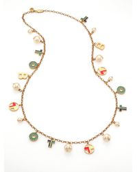Tory Burch | Multicolor Theresa Rosary Charm Necklace | Lyst