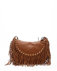Valentino - Brown Tan Leather Studded Fringe Shoulder Bag - Lyst