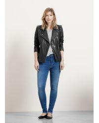 Violeta by Mango | Black Leather Biker Jacket | Lyst