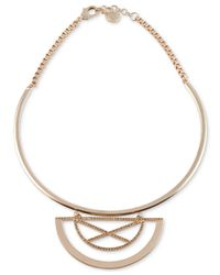 "French Connection | Metallic Gold-tone Torque ""x"" Orbital Pendant 
