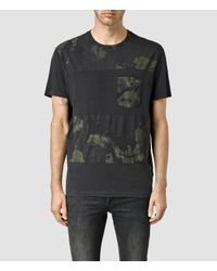 AllSaints | Black Painted Leopald Crew T-shirt for Men | Lyst