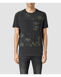 AllSaints - Black Painted Leopald Crew T-shirt for Men - Lyst