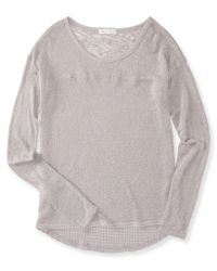 Aéropostale | Gray Long Sleeve Textured-back Knit Top | Lyst