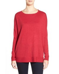 Eileen Fisher - Red Ballet Neck Boxy Merino Knit Top - Lyst