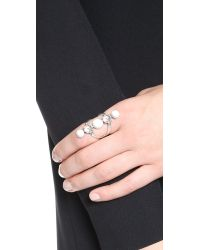 Rebecca Minkoff - Metallic Five Stone Ring - Silver Ox/Howlite - Lyst