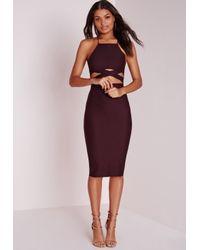 Missguided | Cross Over Waist Midi Dress Dark Purple | Lyst