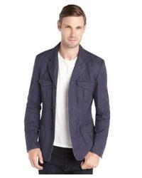 Elie Tahari - Blue Navy Linen And Cotton Woven Three Button 'elie' Jacket for Men - Lyst
