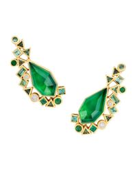 Stephen Webster | Green Gold Struck Crystal Haze Long Earrings | Lyst