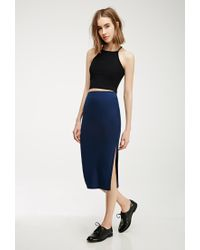 Forever 21 - Blue Slit Midi Skirt - Lyst