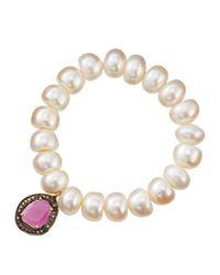 Bavna - White Pearl Beaded Diamond Station Bracelet - Lyst