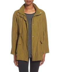 Eileen Fisher | Brown Stand Collar Crinkled Jacket | Lyst