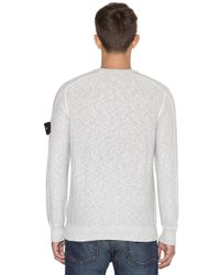 Stone Island | Gray Techno Cotton Knit Sweater for Men | Lyst