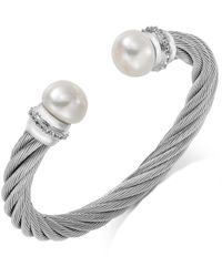 Macy's | Gray Stainless Steel Cultured Freshwater Pearl (12mm) And White Topaz (5/8 Ct. T.w.) Bangle Bracelet | Lyst