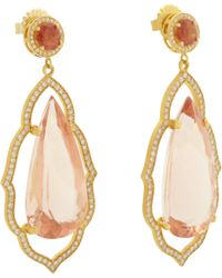 Sara Weinstock - Orange Morganite Diamond Gold Taj Mahal Drop Earrings - Lyst
