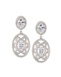 Fantasia by Deserio - Multicolor Elaborate Floral-motif Oval Cz Crystal Double-drop Earrings - Lyst
