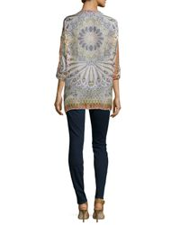 Johnny Was - Multicolor Feather-print Silk Button-front Tunic & Braided Long Tassel Necklace - Lyst