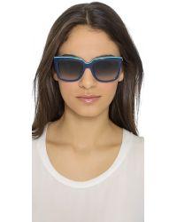 Ferragamo - Colorblock Sunglasses - Blue Turquoise - Lyst