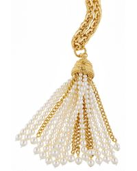 Ben-Amun | Metallic Gold-Plated Faux Pearl Necklace | Lyst