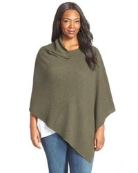 Eileen Fisher - Green Drape Neck Merino Wool Poncho - Lyst