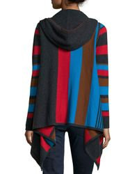 Neiman Marcus - Multicolor Hooded Striped Cashmere Cardigan - Lyst