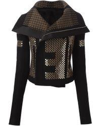 Rick Owens - Black Sequin-Embellished Biker Jacket  - Lyst