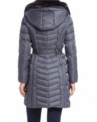 Vince Camuto - Gray Convertible Faux Fur-trimmed Quilted Coat - Lyst