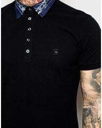 DIESEL - Black Polo T-serpico Denim Collar Pique for Men - Lyst
