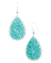 Panacea | Blue Crystal Teardrop Earrings - Turquoise | Lyst