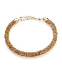 Kenneth Jay Lane | Metallic Woven Tube Collar Necklace | Lyst