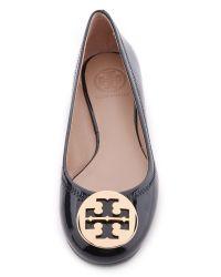 Tory Burch | Black Reva Patent Leather Ballet Flats | Lyst