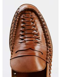 Topman - Brown Marne Tan Leather Woven Loafer for Men - Lyst