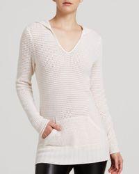 Aqua - White Cashmere Sweater - Pointelle Hoodie - Lyst