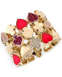 Betsey Johnson | Multicolor Gold-tone Pavé Card Suit Stretch Bracelet | Lyst
