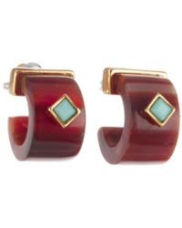 Lauren by Ralph Lauren | Red Cape Horn Small Horn with Turq Cab 34 Hoop Earring | Lyst