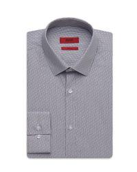 HUGO - Gray 'eagelx'   Slim Fit, Cotton Striped-dash Dress Shirt for Men - Lyst