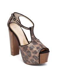 Jessica Simpson | Multicolor Danyy Glitter T-strap Heels | Lyst