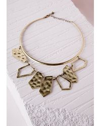 Missguided | Metallic Double Layer Cut Out Detail Choker Gold | Lyst