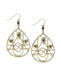 The Sak | Metallic Goldtone Openwork Teardrop Thread Accent Earrings | Lyst