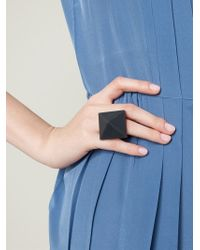 Marc By Marc Jacobs - Black Silicone Pyramid Ring - Lyst