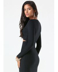Bebe - Black Peekaboo Crop Top - Lyst