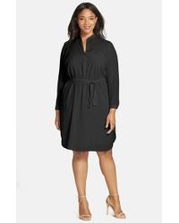 Halogen | Black Split Neck Shirtdress | Lyst