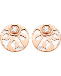 BVLGARI | Metallic Intarsio 18ct Pink-gold Stud Earrings With Mother Of Pearl And Diamonds | Lyst