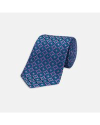 Turnbull & Asser | Slim Circles And Diamonds Blue And Lilac Silk Tie for Men | Lyst