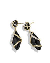 David Yurman | Black Cable Wrap Double-drop Earrings | Lyst