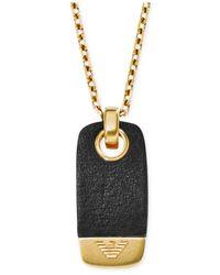 Emporio Armani - Men'S Gold-Tone Black Leather Dog Tag Pendant Necklace Egs1983 for Men - Lyst