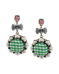 Betsey Johnson | Brasstone Green Gingham Bow Drop Earrings | Lyst