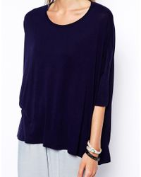 ASOS - Blue Oversized Top With Short Sleeves - Lyst