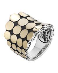 John Hardy | Metallic Dot Silver & 18k Gold Saddle Ring | Lyst